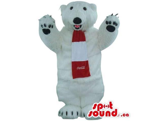 Coca-Cola Polar Bear Plush Canadian SpotSound Mascot Dressed In A Red And White Scarf