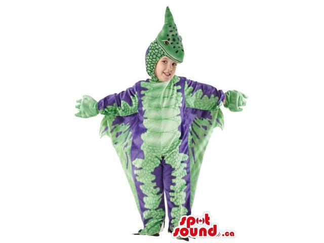 Green And Purple Dragon Children Size Plush Costume