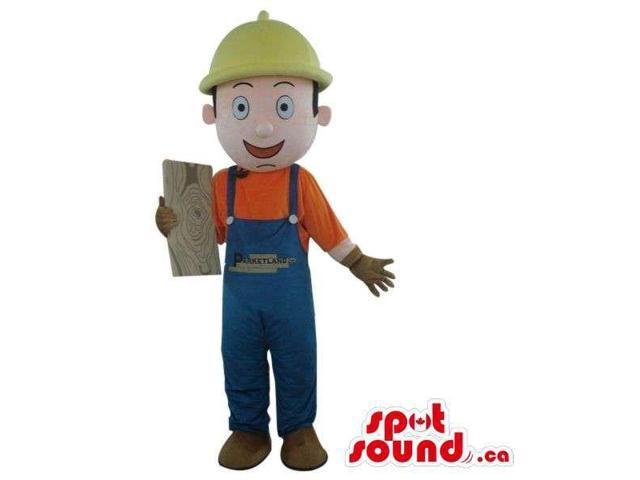 Cartoon Boy Canadian SpotSound Mascot Dressed In Overalls And A Helmet With A Logo