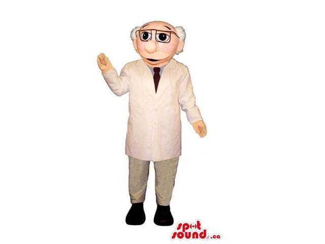 Old Man Human Canadian SpotSound Mascot With Doctor Gear And Glasses