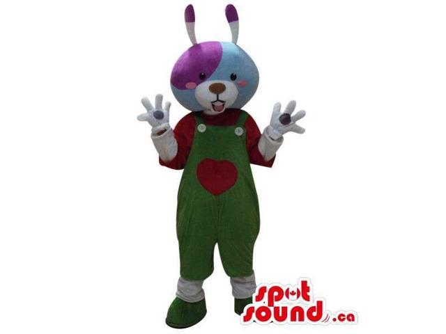 Colourful Plush Rabbit Dressed In Green Overalls With A Heart