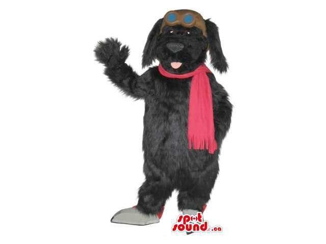 Cute Black Dog Plush Animal Canadian SpotSound Mascot Dressed In Pilot Clothes