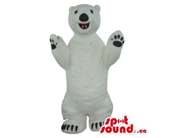 Cute All White Polar Bear Plush Canadian SpotSound Mascot With Black Paws