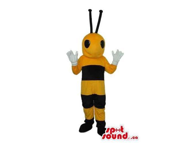 Bee Insect Plush Canadian SpotSound Mascot With Slim Body And Black Eyes
