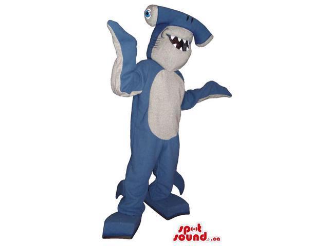 Peculiar Blue And White Hammerhead Shark With Sharp Teeth