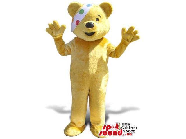 Yellow Bear Plush Canadian SpotSound Mascot With A Colourful Dots Eye-Patch
