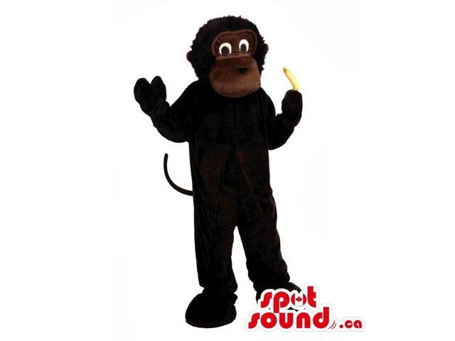 Black And Dark Brown Plush Monkey Canadian SpotSound Mascot With A Banana