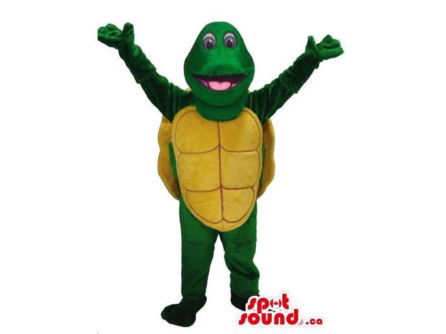Happy Green Turtle Plush Canadian SpotSound Mascot With A Yellow Shell