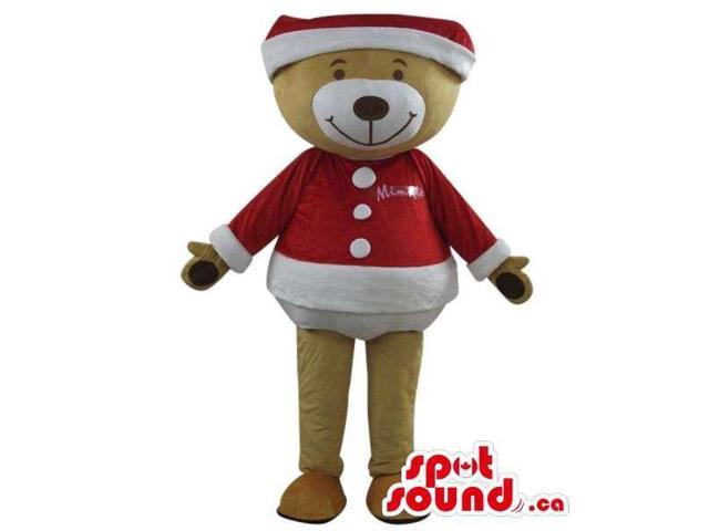 Brown Teddy Bear Plush Canadian SpotSound Mascot In Christmas Clothes With Logo