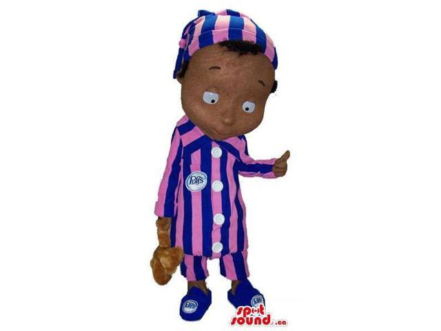 Dark Boy Plush Canadian SpotSound Mascot Dressed In Striped Pyjamas With A Bear Toy