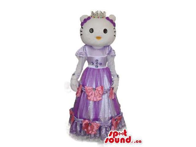 Kitty Cat Cartoon Canadian SpotSound Mascot With A Long Purple Dress And Crown