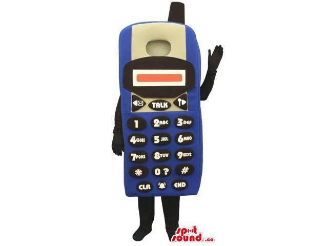 Large Blue Standard Cellphone Plush Canadian SpotSound Mascot With No Face