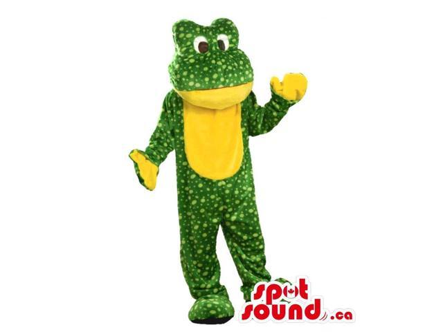 Green Frog Plush Canadian SpotSound Mascot With Dots And A Yellow Belly