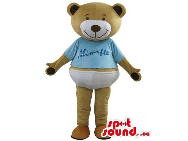 Brown Teddy Bear Plush Canadian SpotSound Mascot Dressed In A Blue T-Shirt With Logo