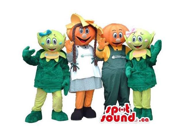 Four Customised Vegetables Plush Canadian SpotSound Mascots In Various Clothes