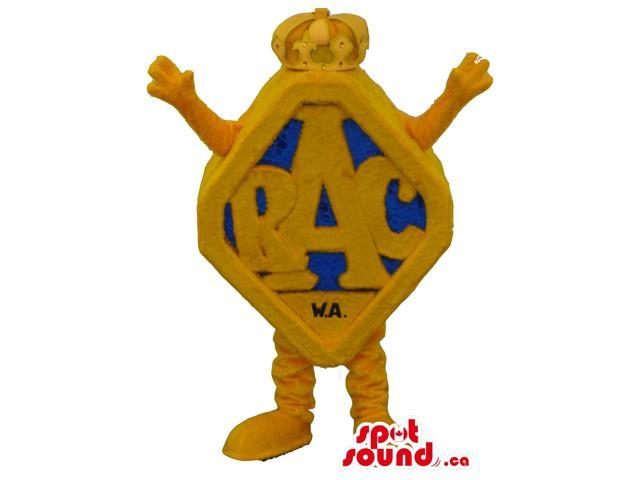Blue And Yellow Rhombus Customised Logo Canadian SpotSound Mascot With No Face