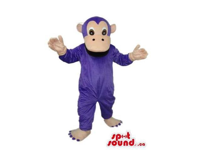 Fairy-Tale Purple Monkey Plush Canadian SpotSound Mascot With A Beige Face
