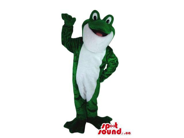 Large Cute Green Frog Plush Canadian SpotSound Mascot With A White Belly
