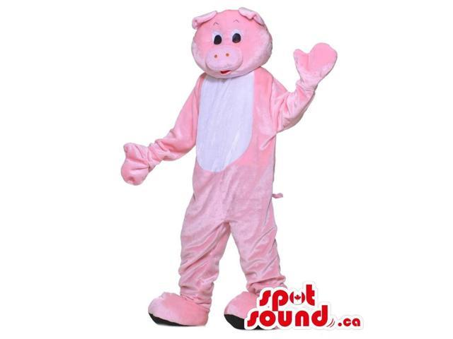 Pink Pig Animal Farm Plush Canadian SpotSound Mascot With A White Belly