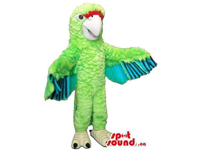 Flashy Green Parrot Plush Canadian SpotSound Mascot With Shinny Wings