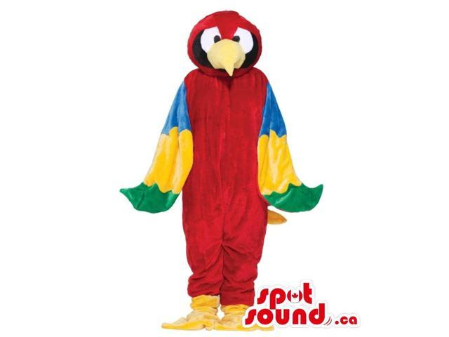 Red Colourful Parrot Bird Plush Canadian SpotSound Mascot With Yellow Beak