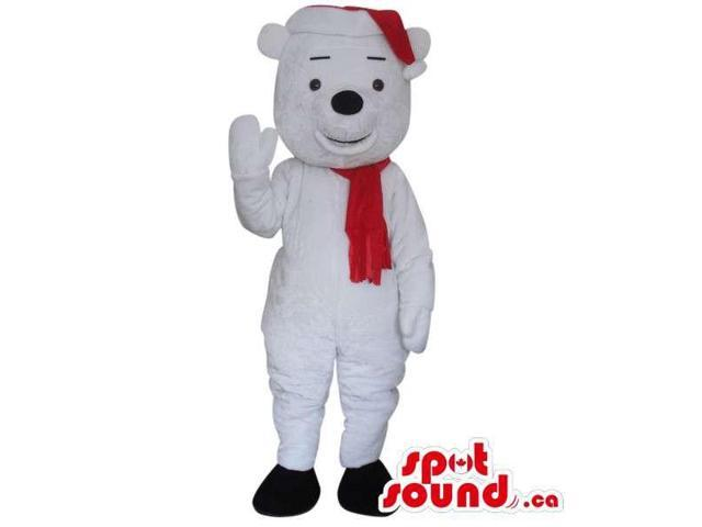 Cute White Teddy Bear Plush Canadian SpotSound Mascot Dressed In A Red Winter Scarf