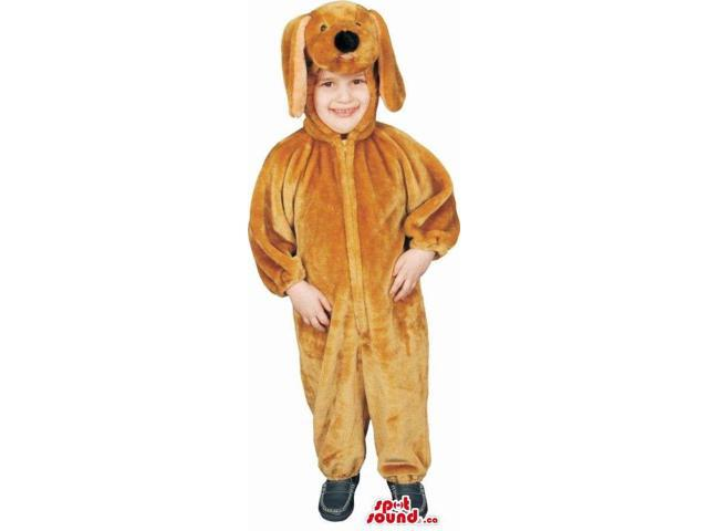 Brown Dog Children Size Plush Costume With Long Ears