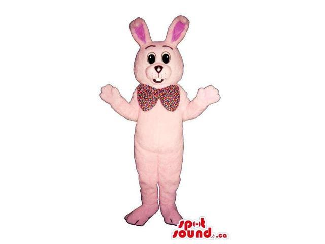 Cute All Pink Rabbit Plush Canadian SpotSound Mascot Dressed In A Large Bow Tie