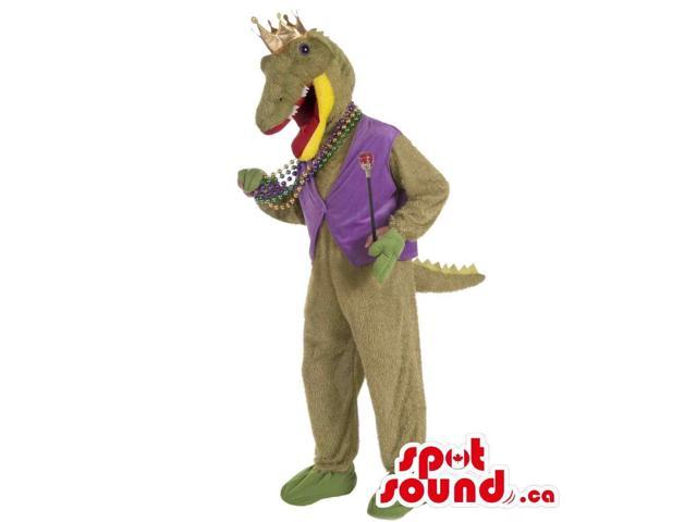 Green Crocodile Canadian SpotSound Mascot Dressed In A Vest And A Crown