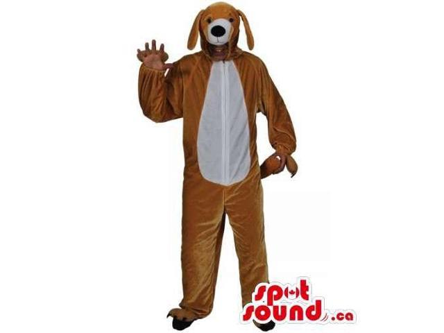 Brown Dog Adult Size Plush Costume With A White Belly