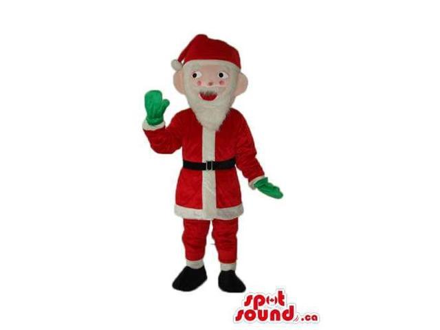 Santa Claus Human Plush Canadian SpotSound Mascot Dressed In Green Gloves