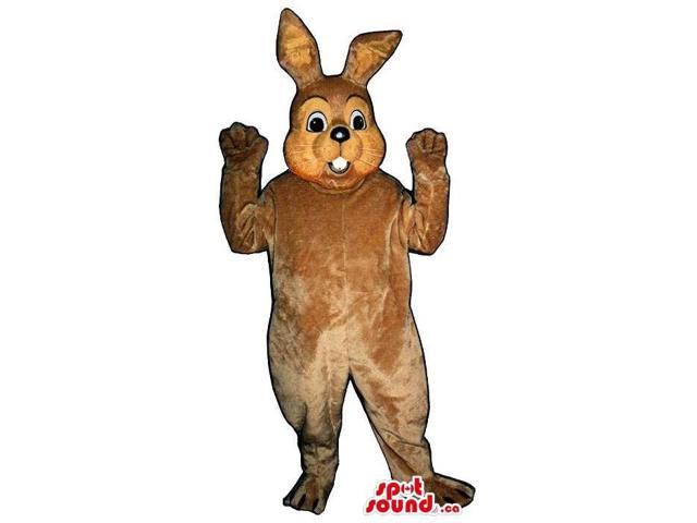 Cute All Brown Rabbit Plush Canadian SpotSound Mascot With Peculiar Teeth