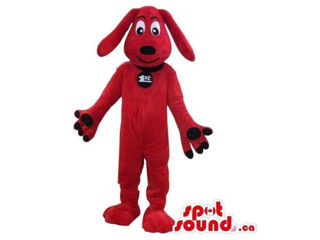 Cute Red Dog Pet Plush Canadian SpotSound Mascot With A Black Collar With Logo