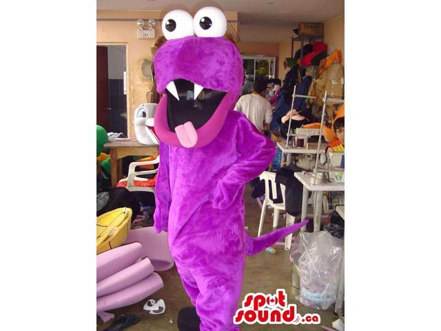 Flashy Purple Monster Plush Canadian SpotSound Mascot With A Sharp Teeth