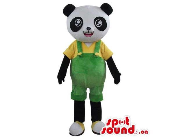 Cute Panda Bear Plush Canadian SpotSound Mascot Dressed In Green Overalls