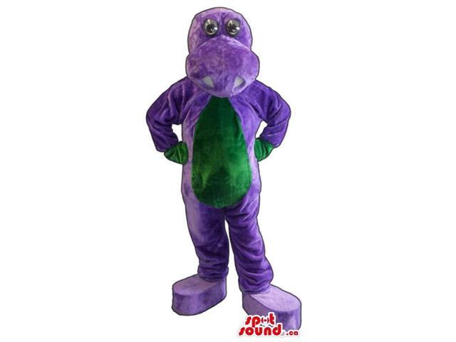 Flashy Purple Dragon Plush Canadian SpotSound Mascot With A Green Belly