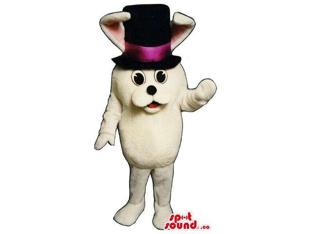 All White Rabbit Plush Canadian SpotSound Mascot Dressed In A Magician Top Hat