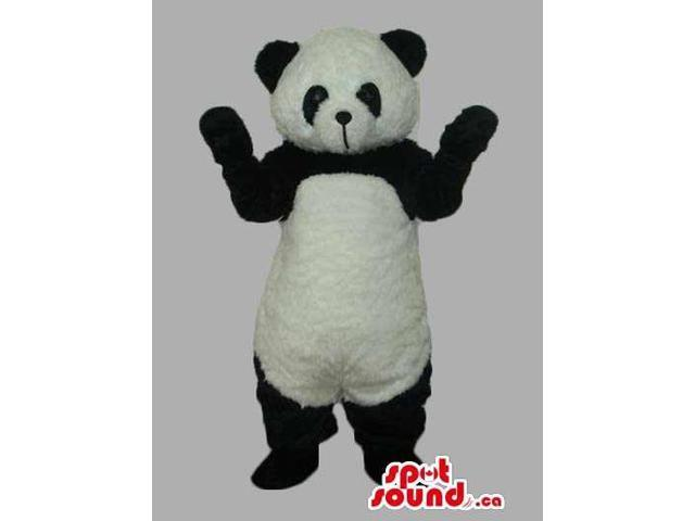 All Black And White Panda Bear Canadian SpotSound Mascot With Closed Mouth