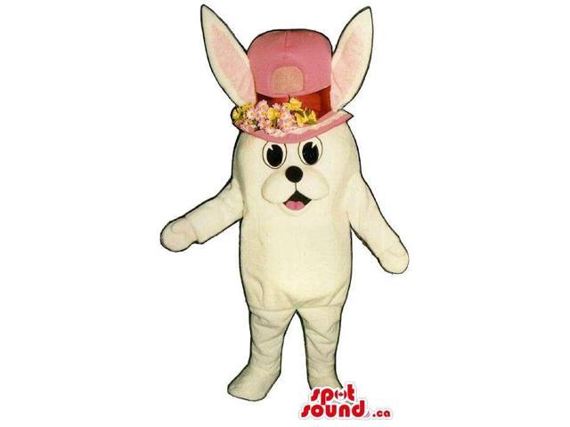 All White Rabbit Plush Canadian SpotSound Mascot Dressed In A Lady Pink Flower Ha