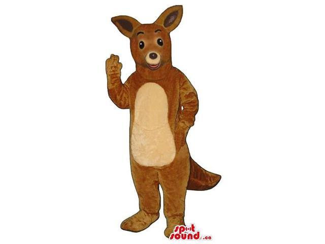 Cute Brown Kangaroo Plush Animal Canadian SpotSound Mascot With A Beige Belly