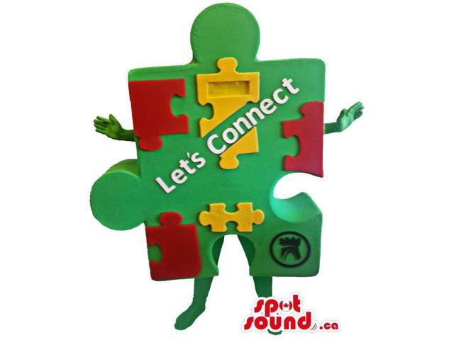 Jigsaw Puzzle With Pieces Canadian SpotSound Mascot With Text And Logo And No Face