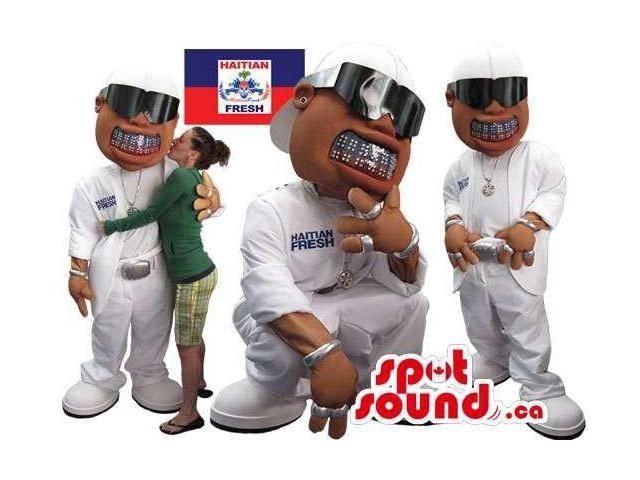 Real-Looking Haitian Fresh Rap Singer Human Canadian SpotSound Mascot With Logo