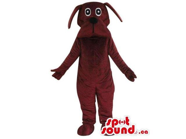 Cute All Brown Dog Pet Plush Canadian SpotSound Mascot With Crazy Eyes
