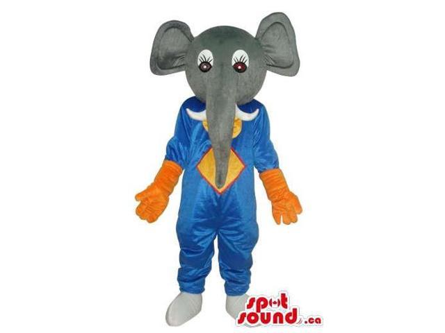 Grey Elephant Plush Canadian SpotSound Mascot Dressed In Blue And Orange Gear