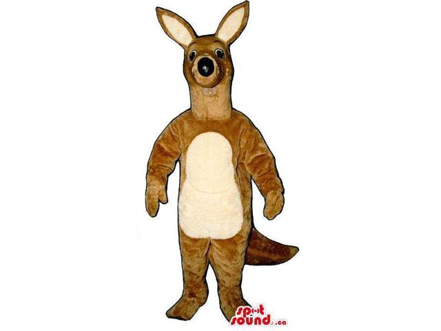 Black-Nosed Brown Kangaroo Plush Canadian SpotSound Mascot With A Beige Belly