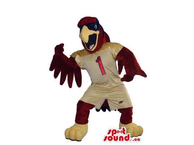 Furious Brown Eagle Bird Plush Canadian SpotSound Mascot Dressed In Brown Gear