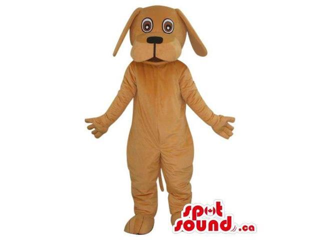 Cute Light Brown Dog Pet Plush Canadian SpotSound Mascot With Crazy Eyes