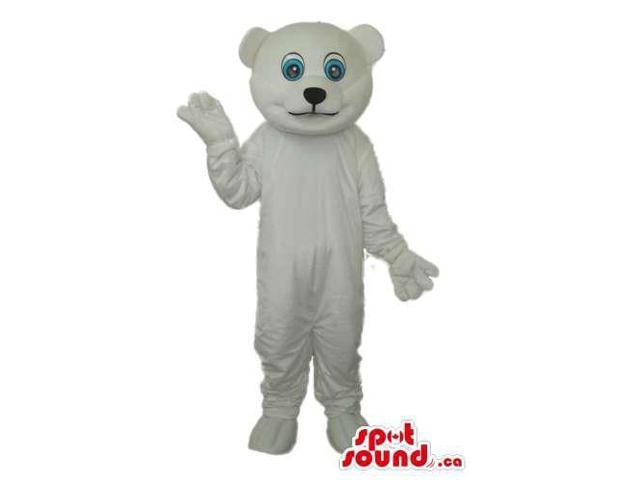 All White Bear Plush Canadian SpotSound Mascot With Round Blue Eyes