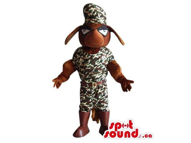 Brown Dog Pet Plush Canadian SpotSound Mascot Dressed In Camouflage Clothes