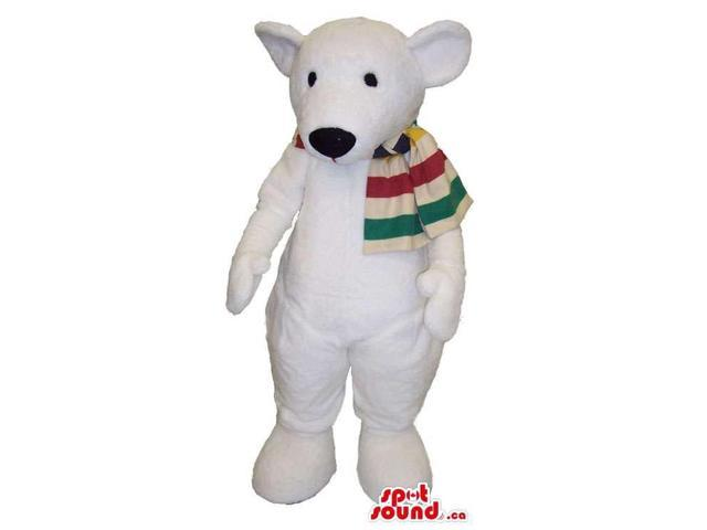 All White Polar Bear Plush Canadian SpotSound Mascot Dressed In A Striped Scarf